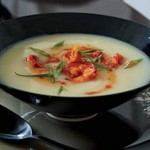 Potato Soup with Spicy Shrimp