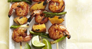 Barbecued Shrimp and Peach Kabobs