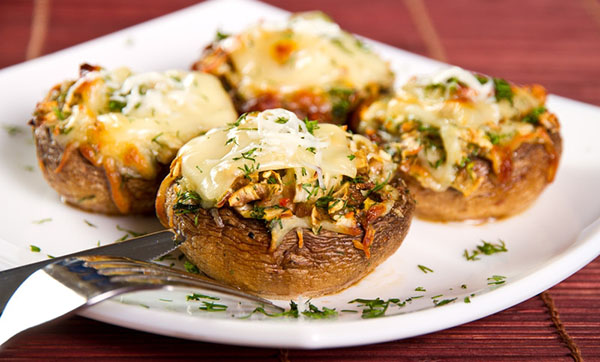 Triple-Cheese-Stuffed Mushrooms