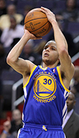 Curry taking a jump shot in 2011. Holding numerous three-point shooting records and having one of the quickest releases in the NBA, Curry is often considered one of the greatest shooters of all time. Photo credit: Keith Allison from Hanover, MD, USA -- CC BY-SA 2.0.