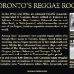 Heritage Toronto Plaque For Reggae Lane