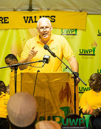 Allan Chastanet seen giving a speech at a recent rally. Photo credit: UWP.