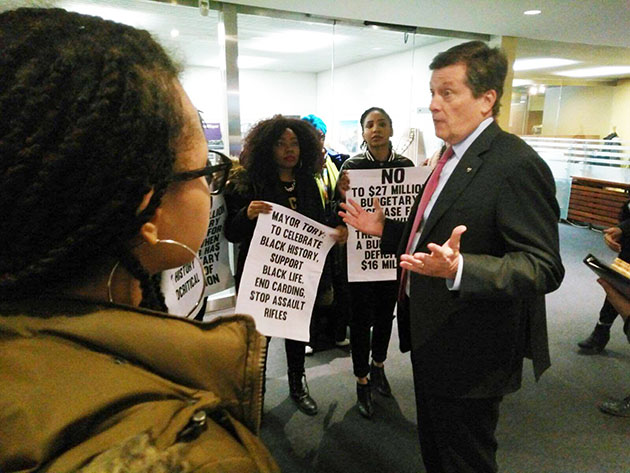 Mayor Tory addresses the issues raised by Black Lives Matter-Toronto protesters. Photo credit: Black Lives Matter-Toronto.
