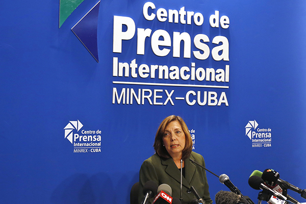 Josefina Vidal, director general of the Cuban foreign ministry's U.S. Division, after reading an official communiqué February 18 on the historic March 21-22 visit to the country by U.S. President Barack Obama. Credit: Jorge Luis Baños/IPS.