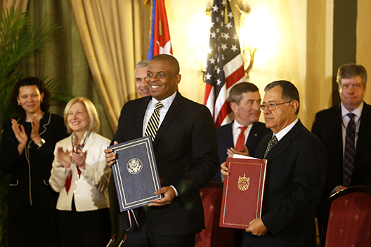 U.S. Secretary of Transportation, Anthony Foxx (left) and his Cuban counterpart, Adel Izquierdo, signed an agreement February 16 in Havana, to restore commercial flights between the two countries. In the last year, four U.S. cabinet secretaries have visited Cuba. Photo credit: Jorge Luis Baños/IPS.