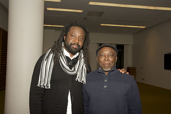 Marlon James, left, and author, Garfield Ellis, right, who will launch his new novel, The Angels' Share, at the Consulate General of Jamaica today. Photo by Eddie Grant.