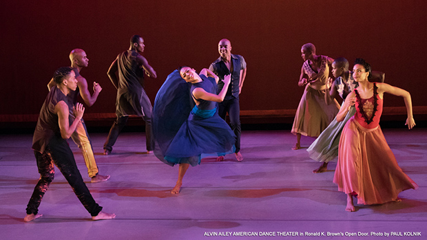 "Members of the Alvin Ailey dance troupe perform in Ronald K. Brown's ""Open Door"". Photo by Paul Kolnik."
