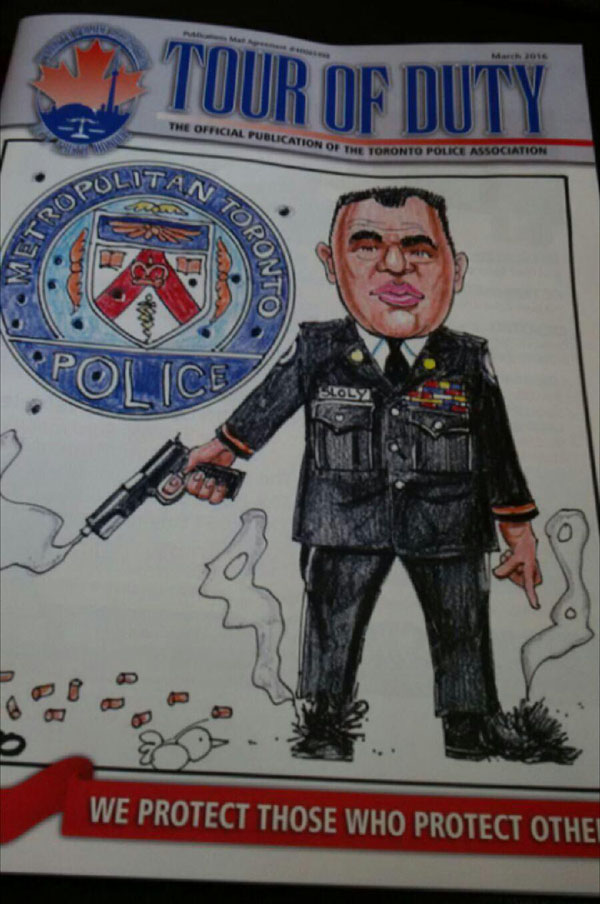 Screenshot of the Toronto Police Association magazine cover, depciting a derogatory caricature of retired TPS deputy Chief, Peter Sloly.