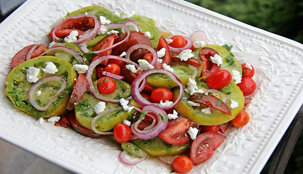 A Classic Tomato Salad With Heirloom Tomatoes