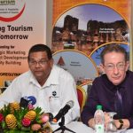 Director of the Guyana Tourism Authority (GTA) Indranauth Haralsingh and President of the Tourism and Hospitality Association of Guyana (THAG), Shaun McGrath at the launch of restaurant week. Photo credit: GINA.