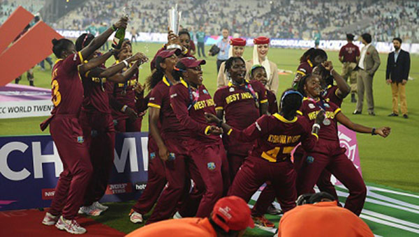 West Indies women's team members celebrate becoming the ICC Twenty20 World Cup 2016 champions, today, in India. Photo credit: WICB.