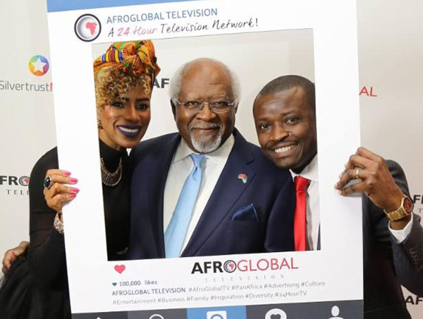 (L-R): Dr. Julius Garvey; Karlyn Percil, host of Sister Talk TV; and Dr. Jefferson Sackey, host of Jefferson Sackey Reports and VP of Programming for Afroglobal Television.