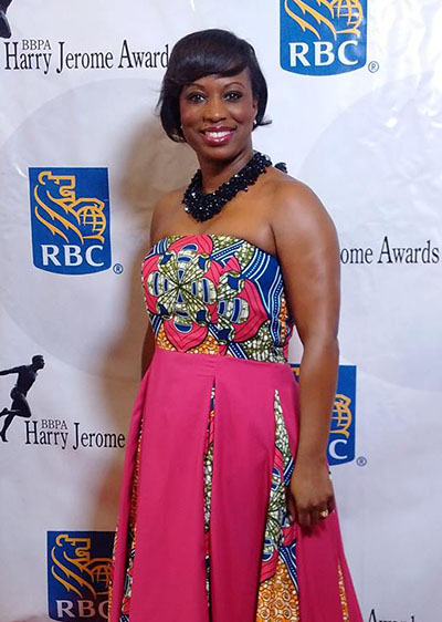 Celina Caesar-Chevannes at the BBPA Harry Jerome Awards, last month. She attended in support of artist, Robert Small, who received an award for excellence in the arts. Photo courtesy of the HJA.