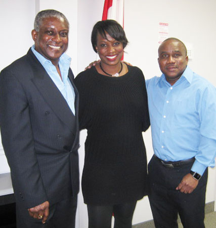 Celina Caesar-Chavannes in her constituency office with Pride News Magazine Publisher, Michael Van Cooten, left, and Contributing Writer, Neil Armstrong. Photo credit: Pride News Magazine.