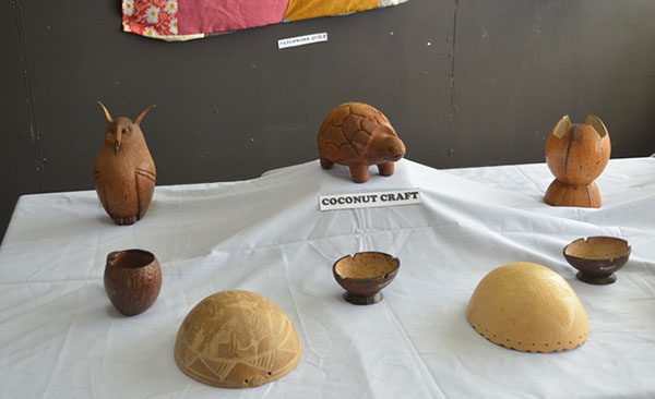 Some of the handmade coconut craft on display. Photo credit: GINA.