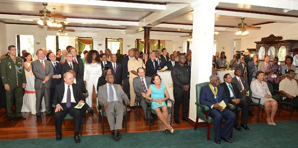 The gathering at State House: Seated in the front row, from right to left, are -- Minister of Public Security, Khemraj Ramjattan; Commonwealth Secretary General, Baroness Patricia Scotland; Prime Minister Moses Nagamootoo; Prime Minister of Barbados, Freundel Stuart; First Lady Mrs. Sandra Granger; Minister of Foreign Affairs, Carl Greenidge; and another dignitary. Photo credit: GINA.