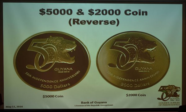 The $5000 (left) and $2000 coins.