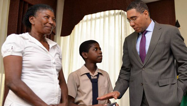 Young Letter Writer Gets Computer From Jamaica Prime Minister