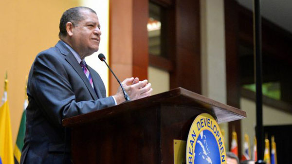 Outgoing CDB Board of Governors' Chair and Jamaica's Minister of Finance and the Public Service, Audley Shaw, addresses the Caribbean Development Bank's (CDB) 46th Annual Board of Governors Meeting. Photo credit: Garwin Davis/JIS.