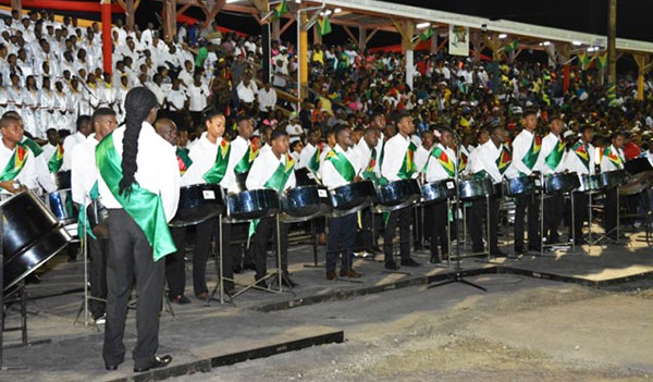 The steel pan group provided lively entertainment and professionally performed covers of Guyana's national songs during the cultural presentation. Photo credit: GINA.