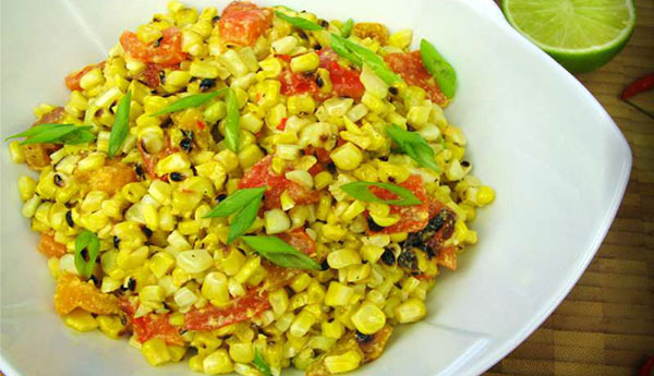 Grilled Corn Salad With A Spicy Cheddar Dressing