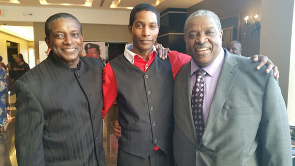 """A large segment of the audience who came out to pay tribute to the """"100 Accomplished Black Canadian Women – 2016'' were men, including: Michael Van Cooten, left, Pride News Magazine Publisher and Editor; his son, Donnavan van Cooten, an auto Sales representative at Formula Honda; and renowned medical General Practitioner, Dr. Wrensford Simmonds, husband of the book's co-author, Dauna Jones-Simmonds. Photo credit: Donna Van Cooten."""