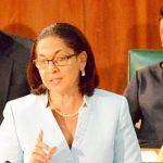 Minister of Labour and Social Security, Hon. Shahine Robinson, makes her contribution to the 2016/17 Sectoral Debate in the House of Representatives on June 28. In the background are Members of Parliament, Zavia Mayne (left) and Juliet Cuthbert-Flynn. Photo credit: Rudranath Fraser/JIS.