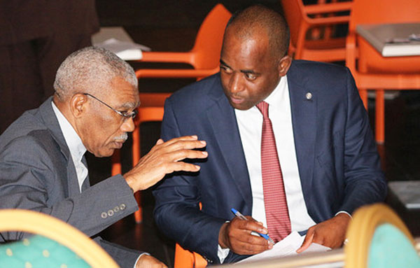 Now it appears that Granger is getting serious and passionate, adding geticulation to his lobbying efforts, regarding the Guyana-Venezuela border disoute,  with Skerritt -- maybe it's working, he's got the Chairman's attention, who also seems to be taking notes.