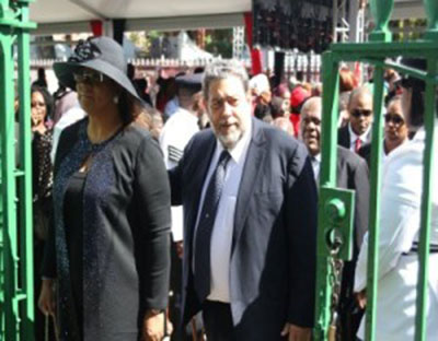 St. Vincent and the Grenadines Prime Minister, Dr. Ralph Gonsalves, accompanied by his wife, Eloise.