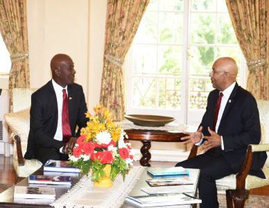 T&T Prime Minister Rowley (left) and Jamaica Governor General, Sir Patrick Allen.