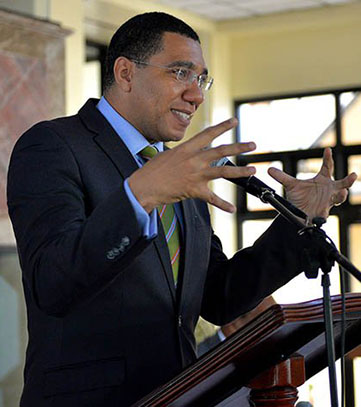 Jamaica PM, Andrew Holness, addresses the media on Monday. Photo credit: JIS.