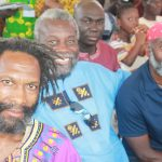 Left to right: Michael St. George, Nene Kwasi Kafele and Mello Ayo in Ghana in 2015. Photo credit: Michael St. George.