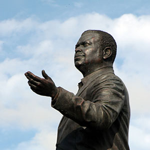 The statue of Barbados' revered first Prime Minister, Errol Barrow.