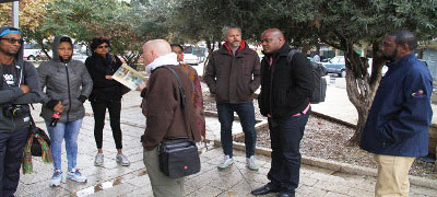 The eight CARICOM journalists visited a number of historical sites in Israel, including Nazareth. Photo credit: CMC.