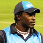 Chris Gayle on the field at the Telstra Dome during an ICC Super Series 2005 cricket match. Photo credit: Dannow at English Wikipedia -- Public Domain -- https://commons.wikimedia.org.