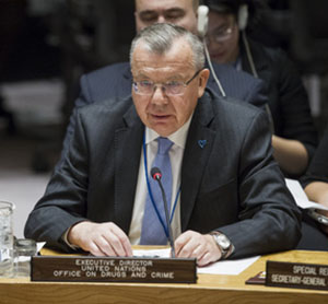 "Yury Fedotov, Executive Director of the United Nations Office on Drugs and Crime (UNODC), addresses the Security Council ministerial open debate on the theme ""Trafficking in persons in conflict situations"". Photo credit: UN."