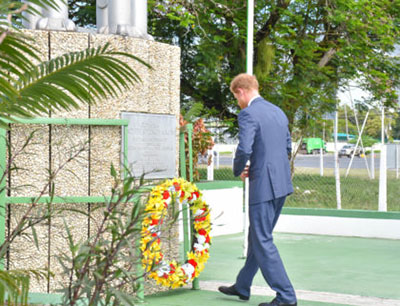 Prince Harry lays a wreath at the Independent Arch at Brickdam. The Independence Arch can be described as one of the nation's most important national symbols.
