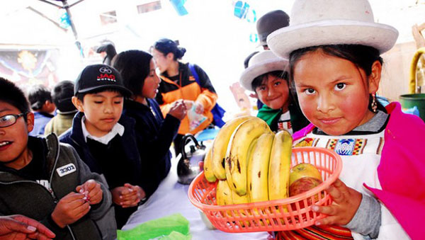 A girl wearing traditional dress from Bolivia's highlands region shows a basket with fruit during a school exhibit in La Paz to promote good eating habits among students.. Programs to promote healthy eating are spreading through schools in Latin America, to address problems such as malnutrition and overweight. Photo credit: Franz Chávez/IPS.