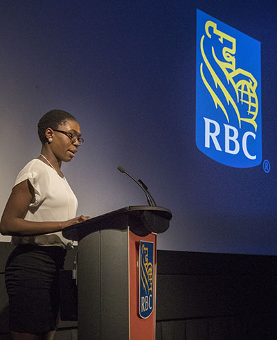 Kharissa Edwards, the first place winner in the RBC Black History Month Essay Contest, reads from her winning essay. Photo contributed.