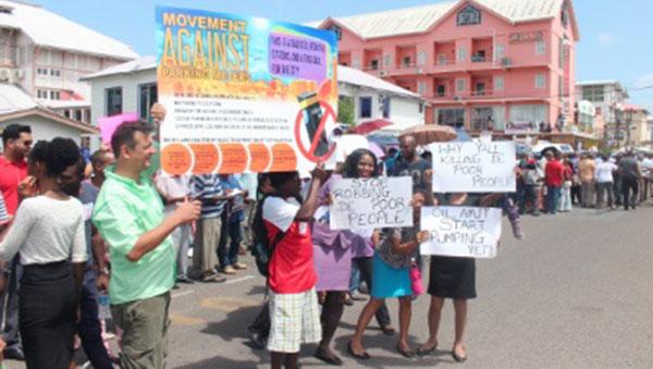 Guyanese Protest Parking Meters In Georgetown