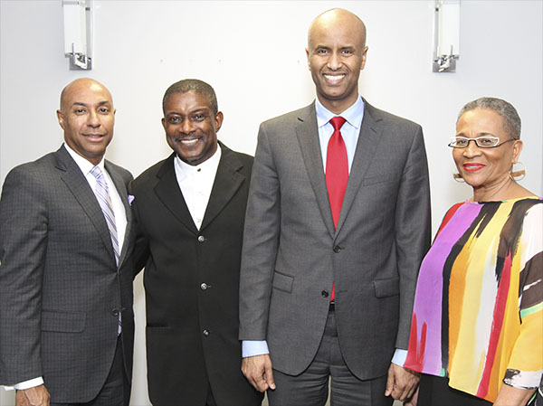 Newly appointed federal Immigration, Refugees and Citizenship Minister, Ahmed Hussen, poses with, from left to right: CFL Commissioner, Jeffrey L. Orridge; ACAA Founder, Chair and CEO, Michael Van Cooten; and Joan Pierre, the gala's Producer. Photo credit: Bruce Ramsay.
