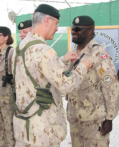 Master Corporal Bernard receives GCS South West Asia Medal, on May 13, 2007, in Kandahar, Afghanistan. Photo provided by Master Corporal Bernard.