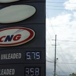 CNG fuel sign at the NP Ramco service station, on the Churchill-Roosevelt Highway, Orange Grove, Trinidad and Tobago. Photo credit: Jewel Fraser/IPS.