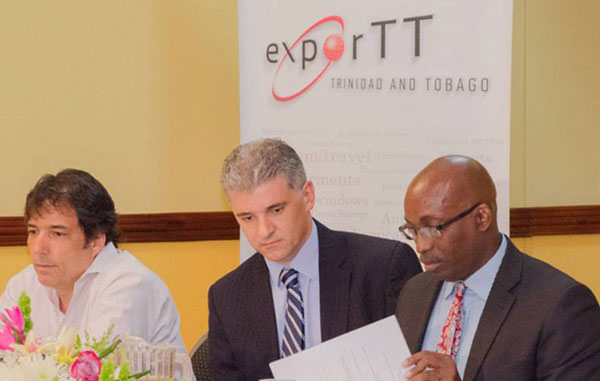 Dr. Thackwray Driver, CEO of Energy Chamber -- flanked by Douglas Boyce (left), Director and Chief Operating Officer, Hull Support Services and ExporTT Chief Executive Officer, Christopher Lewis -- at the Breakfast Session on Exporting Energy Services, hosted by ExporTT. Photo credit: ExporTT.