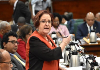 Opposition Chief Whip, Gail Teixeira, responds, in Parliament, to the government's passage of a modified pension plan for Hamilton Green. Photo credit: CMC.