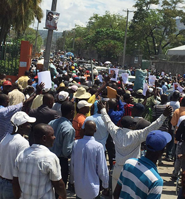 Haitians protest.