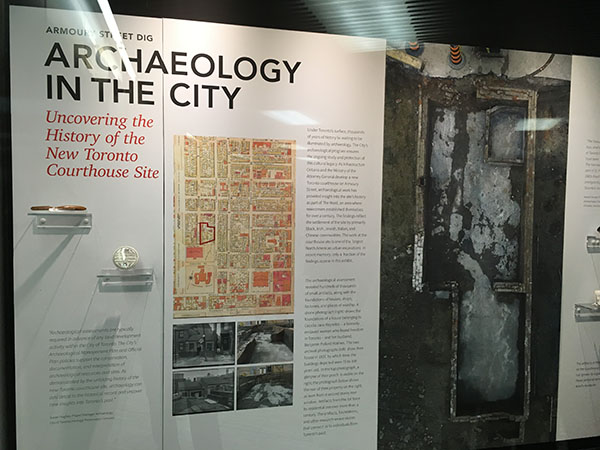 One of the displays of the exhibition showcasing artifacts from the archaeological dig behind City Hall. Photo credit: Neil Armstrong.