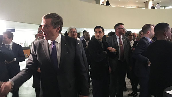Mayor John Tory greets people at his Black History Month Reception at City Hall on Feb. 22. Photo credit: Neil Armstrong.