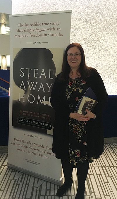 "Historian and author, Karolyn Smardz Frost, signed copies of her new book, ""Steal Away Home."" All proceeds from the sale of the book that evening went to the Ontario Black History Society. Photo credit: Neil Armstrong."