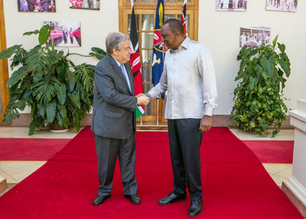 President Uhuru Kenyatta and UN Secretary-General, António Guterres, meet at the State House on 08 March 2017. Photo credit: @StateHouse.